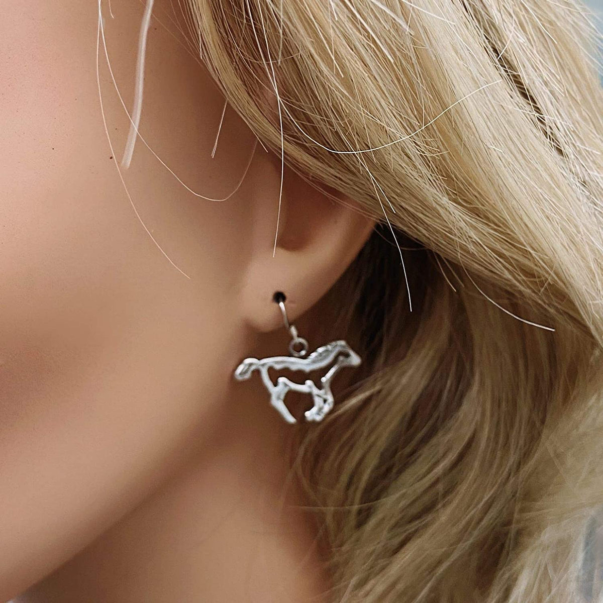 Sterling Silver Horse Earrings, Native American USA Handmade, Nickle Free, French Hook, Western Style