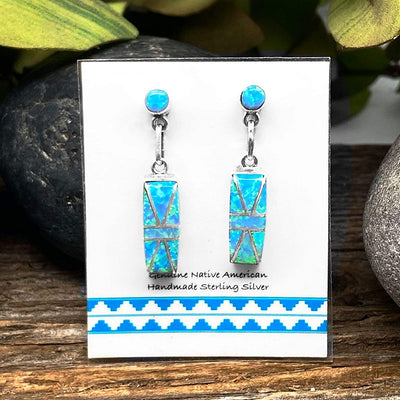 Desert Opal Earrings, 925 Sterling Silver, Native American USA Handmade, Nickle Free, Light Blue Synthetic Opal