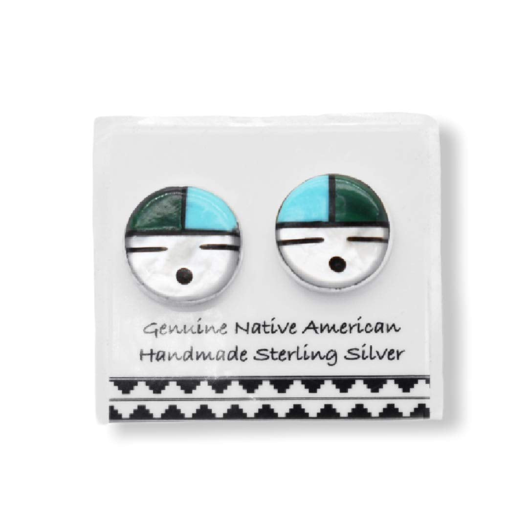 Genuine Stone Zuni Sunface Stud Earrings in 925 Sterling Silver, Turquoise and Malachite, Authentic Native American Handmade in the USA, Nickel Free