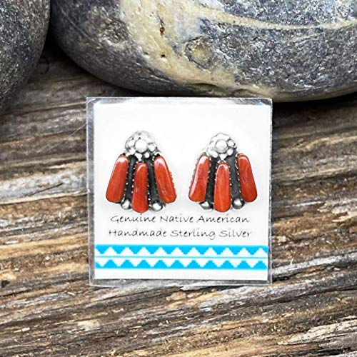 11mm Genuine Red Coral Stud Earrings, Traditional Zuni Petit Point, 925 Sterling Silver, Native American USA Handmade, Nickle Free