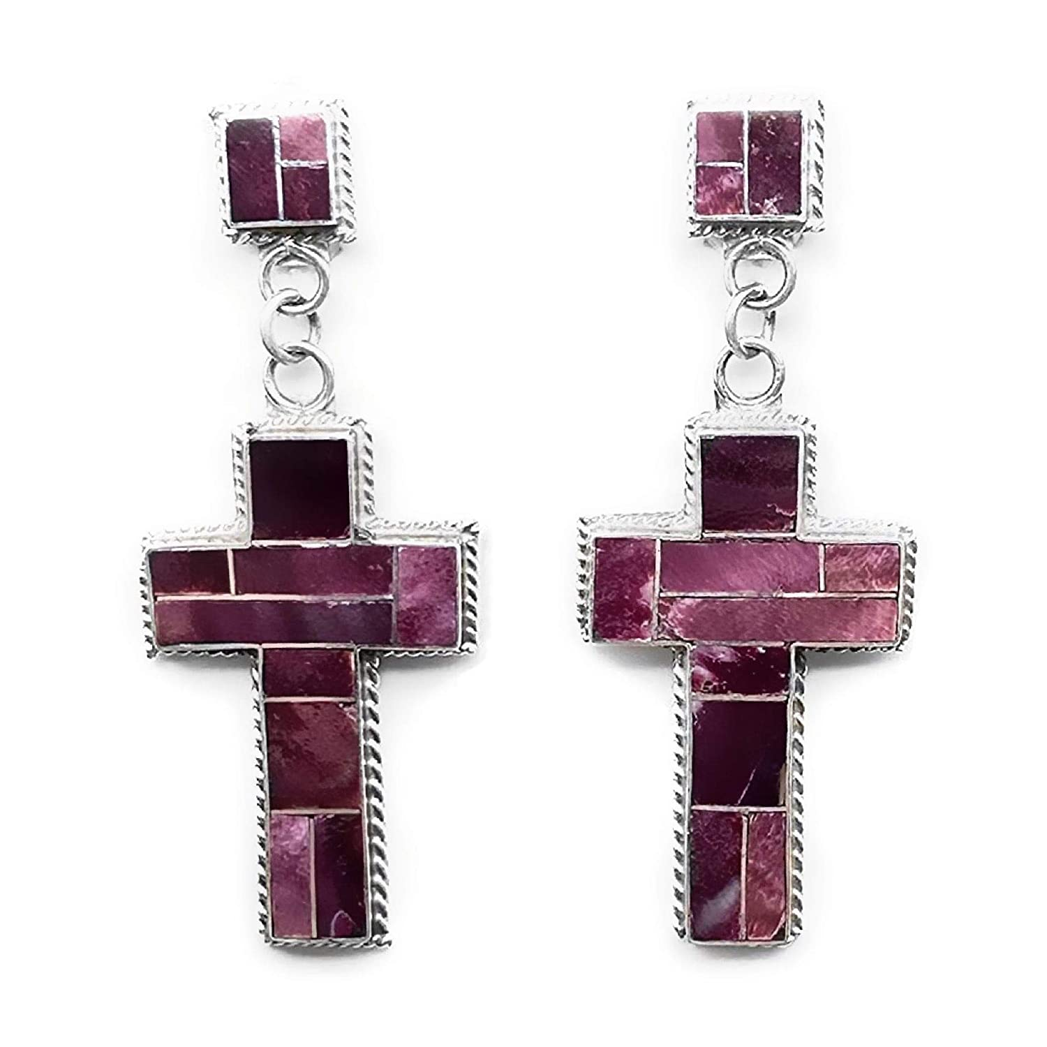 Purple Spiny Oyster Shell Cross Statement Earrings, Sterling Silver, Native American USA Handmade, Nickle Free