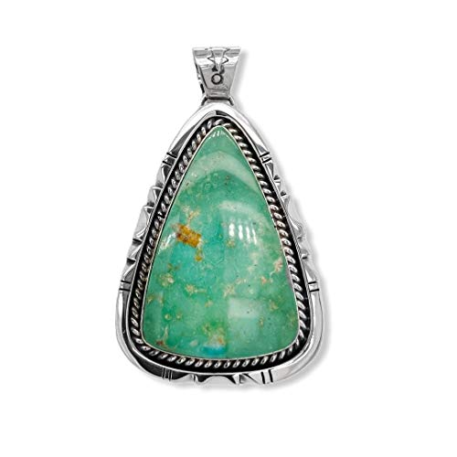 Genuine Apache Turquoise Pendant, Sterling Silver, Authentic Navajo Native American USA Handmade, Artist Signed, Nickel Free, Southwest Jewelry