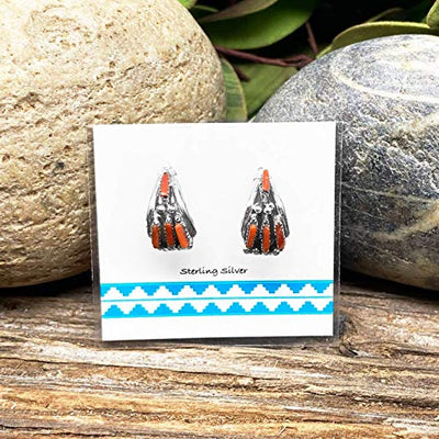 Genuine Red Coral Half Hoop Earrings, Sterling Silver, Traditional Handmade Zuni Needlepoint, Native American Made