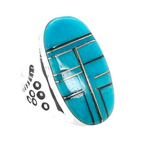 Genuine Sleeping Beauty Turquoise Inlay Ring, Size 11, Sterling Silver, Authentic Navajo Native American USA Handmade, Nickel Free, Southwest Jewelry for Men