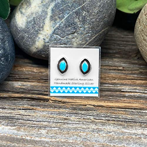 Genuine Sleeping Beauty Turquoise Stud Earrings, 925 Sterling Silver, Native American USA Handmade, Nickle Free