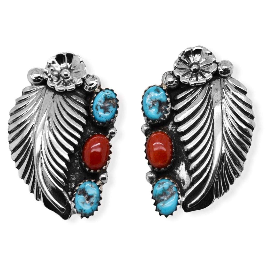 Genuine Kingman Turquoise and Red Coral Cluster Earrings in 925 Sterling Silver, Native American USA Handmade, Nickle Free, Southwest Style