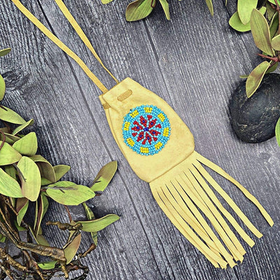 Genuine Native American Handmade Medicine Pouch, Leather and Traditional Bead Work, Wearable As A Necklace, Unisex