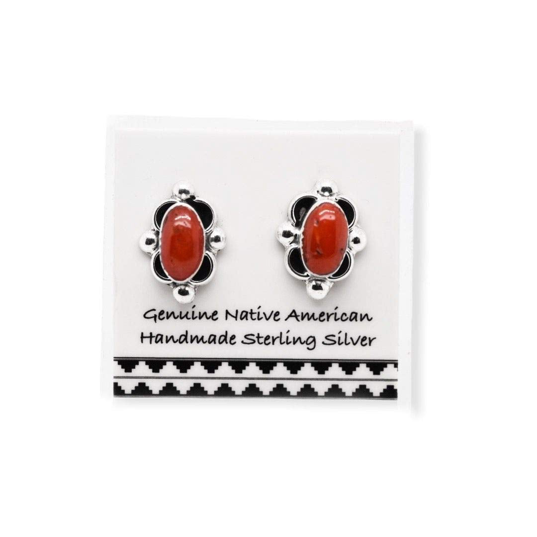 5mm Genuine Red Coral Stud Earrings, 925 Solid Sterling Silver, Native American USA Handmade, Nickle Free, Oval