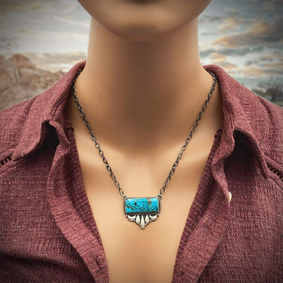 Genuine Kingman Turquoise Bar Necklace, Oxidized Sterling Silver, Navajo Native American USA Handmade, Artisan Signed, Natural Stone, Nickle Free