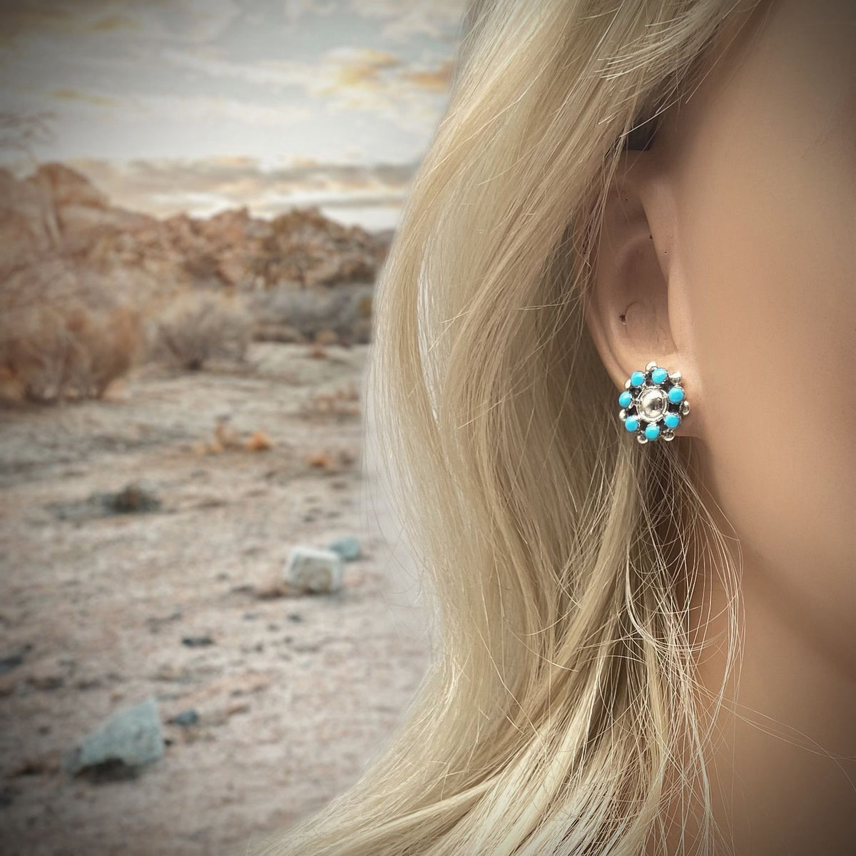Genuine Sleeping Beauty Turquoise Cluster Stud Earrings in 925 Sterling Silver, Authentic Native American Handmade, Nickle Free