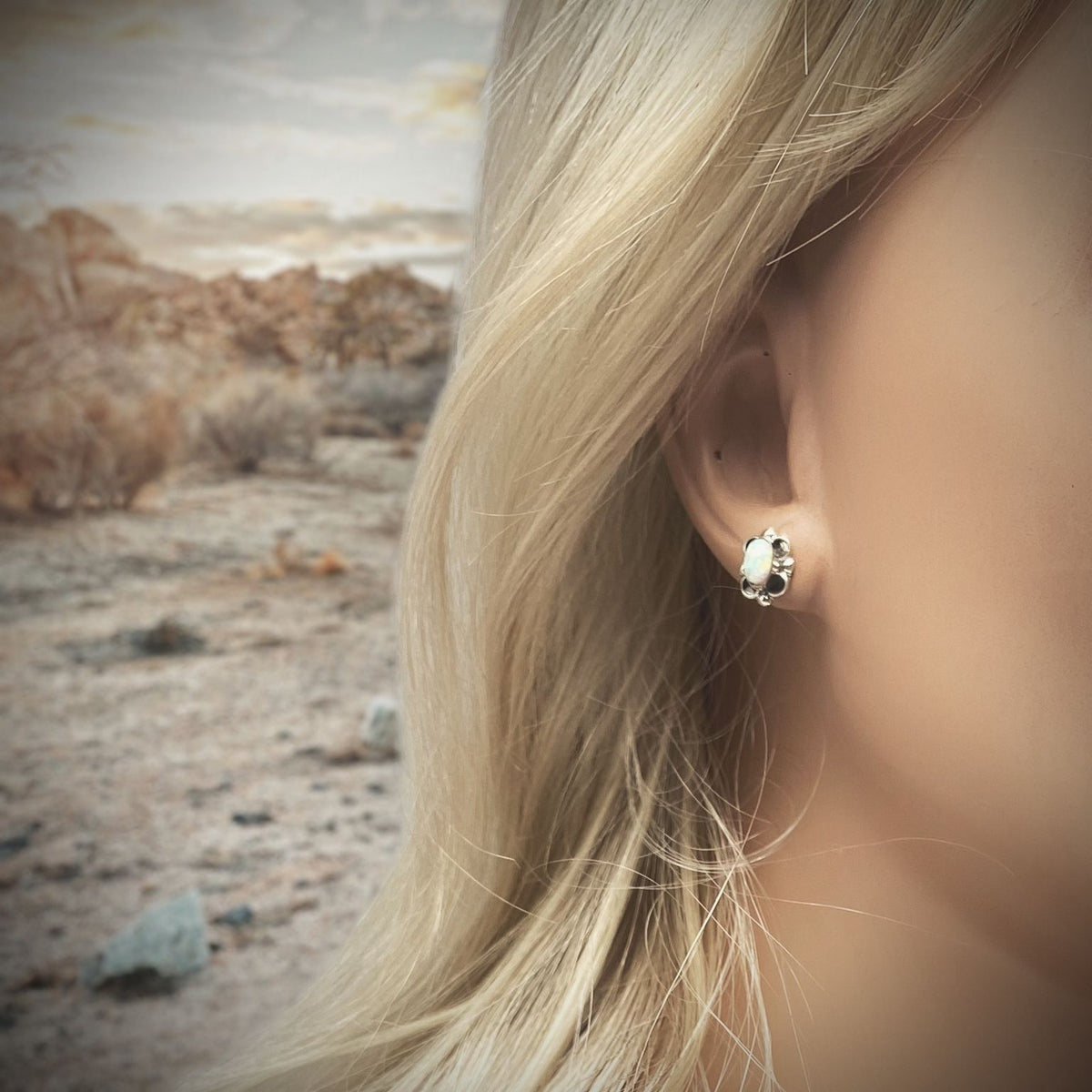 Desert Opal Stud Earrings in 925 Sterling Silver, Handmade, Nickle Free, White Synthetic Opal, Gift Boxed