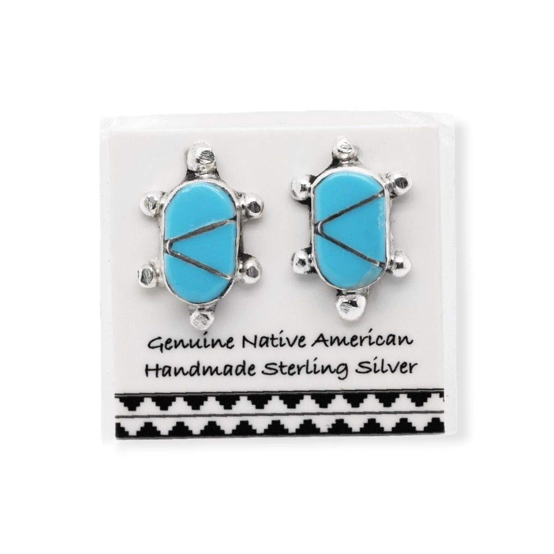 Genuine Sleeping Beauty Turquoise Earrings in 925 Sterling Silver, Inlay Turtle Design,  Native American Handmade in the USA, Nickle Free
