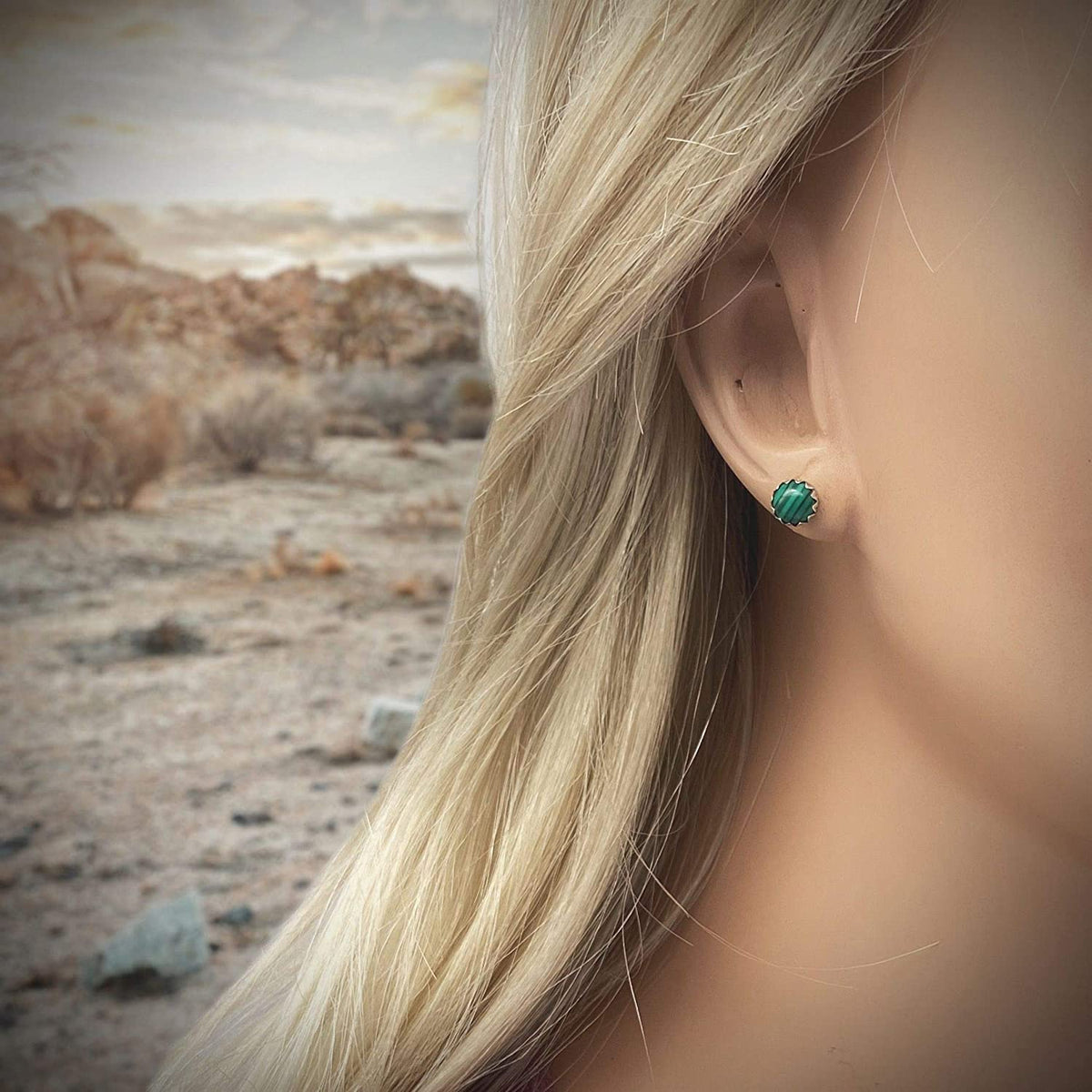 6mm Genuine Malachite Stud Earrings in 925 Sterling Silver, Native American Handmade in the USA, Nickle Free, Dark Green