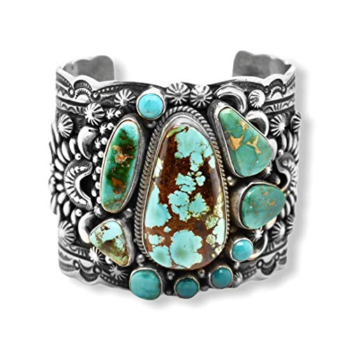 Genuine Royston Turquoise Cuff Statement Bracelet, Sterling Silver, Authentic Navajo Native American USA Handmade, Artist Signed, One of a Kind, Size Women's Medium