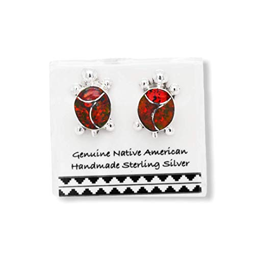 Red Desert Opal Turtle Earrings, 925 Sterling Silver, Native American USA Handmade, Synthetic Opal, Nickle Free