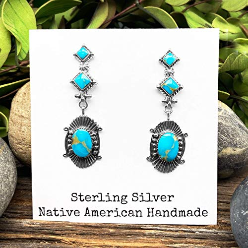 Genuine Royston Turquoise Earrings, 925 Sterling Silver, Authentic Navajo Native American Handmade, Artistan Signed, Nickle Free