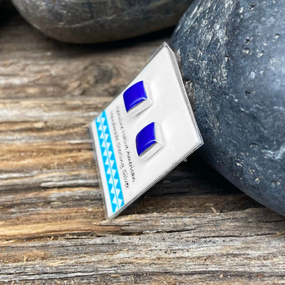 6mm Genuine Lapis Lazuli Stud Earrings in 925 Sterling Silver, Southwest Square Style, Native American USA Handmade, Nickle Free, Navy Blue