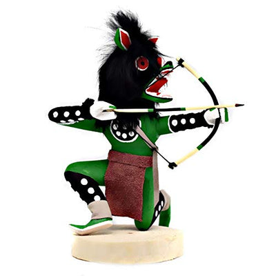 6 Inch Authentic Crouching Green Wolf Kachina Doll, Genuine Navajo Native American Tribe Handmade in the USA, Artist Signed, Natural Materials, Southwestern Collectible Figurine