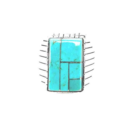Genuine Sleeping Beauty Turquoise Inlay Ring, Size 13, Sterling Silver, Authentic Navajo Native American USA Handmade, Nickel Free, Southwest Jewelry for Men