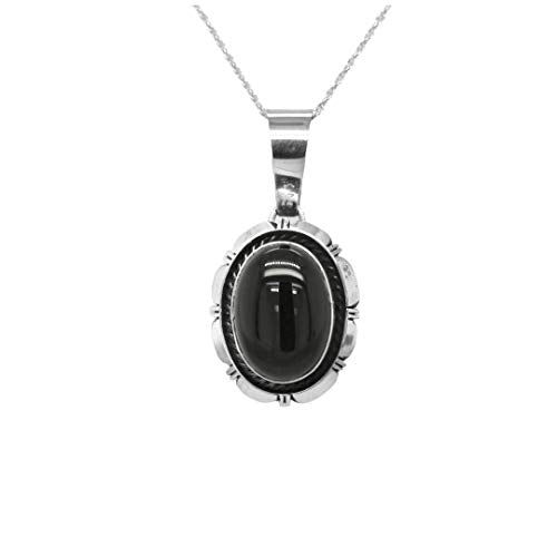 Genuine Black Onyx Pendant, Sterling Silver, Authentic Navajo Native American USA Handmade, Artist Signed, Nickel Free, Southwest Jewelry