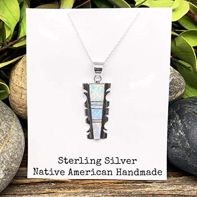 Desert Opal Necklace, Pendant and Chain Set, 925 Sterling Silver, Native American USA Handmade, Nickle Free, Synthetic Opal