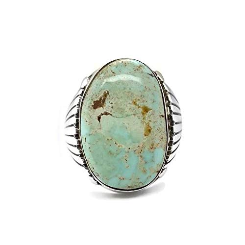 Genuine Dry Creek Turquoise Ring, Size 11, Sterling Silver, Authentic Navajo Native American USA Handmade, Nickel Free, Southwest Jewelry for Men