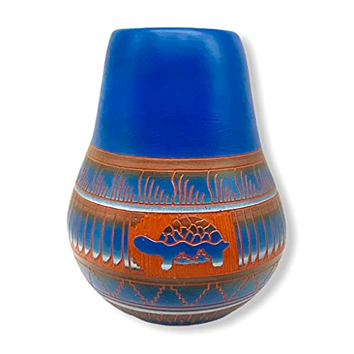 Authentic Native American Pottery, Traditional Vase Style, Turtle, Genuine Navajo Tribe USA Handpainted and Etched, Artist Signed, Southwestern Home Decor Collectible