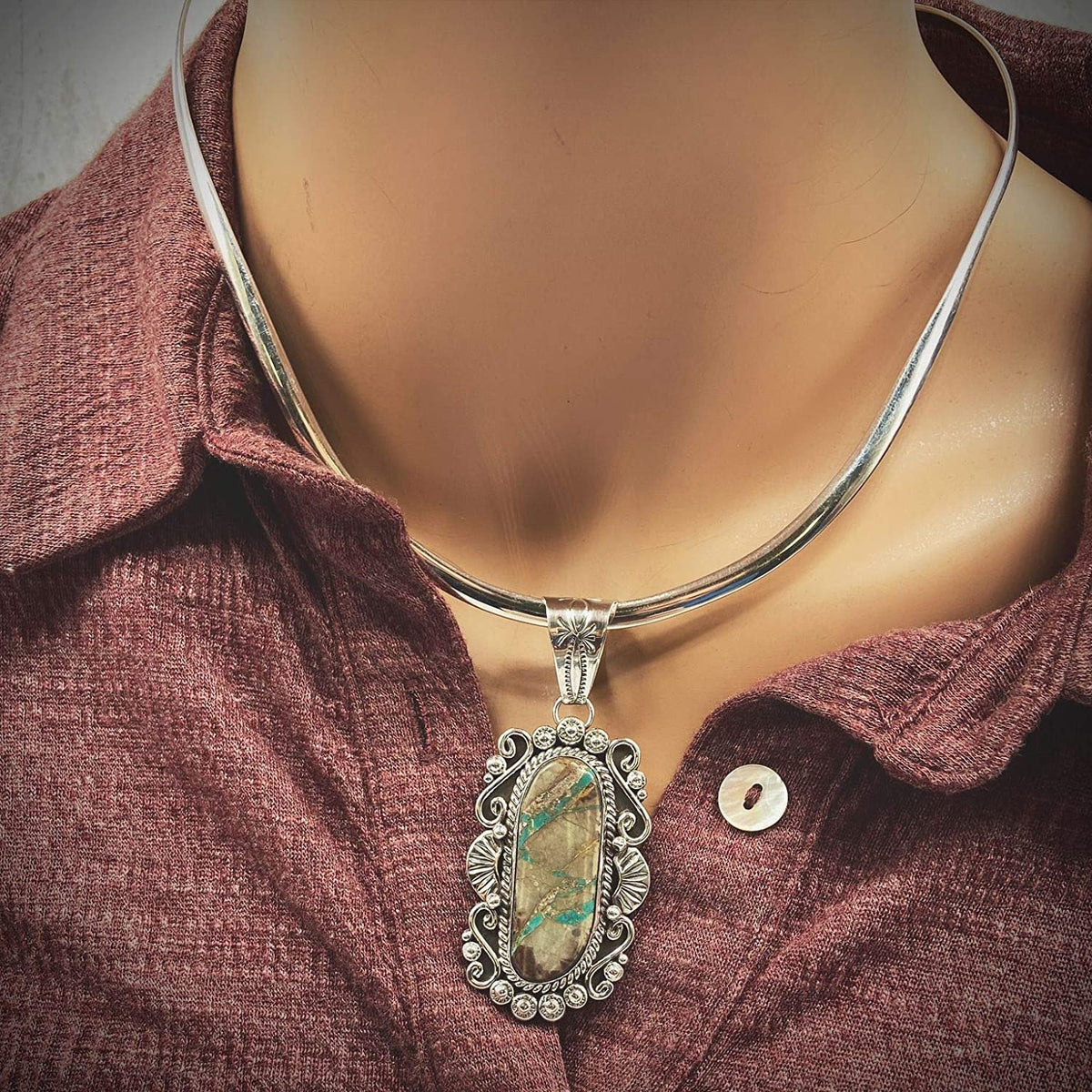 Genuine Royston Ribbon Turquoise Pendant, Navajo Native American USA Handmade, 925 Sterling Silver, Artist Signed, Natural Stone, Nickel Free