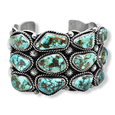 Genuine Kingman Turquoise Cuff Statement Bracelet, Sterling Silver, Authentic Navajo Native American USA Handmade, Artist Signed, One of a Kind, Size Women's Large