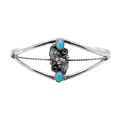 Genuine Sleeping Beauty Turquoise Cuff Bracelet, Sterling Silver, Authentic Native American USA Handmade, Artist Signed, Size Women's Medium