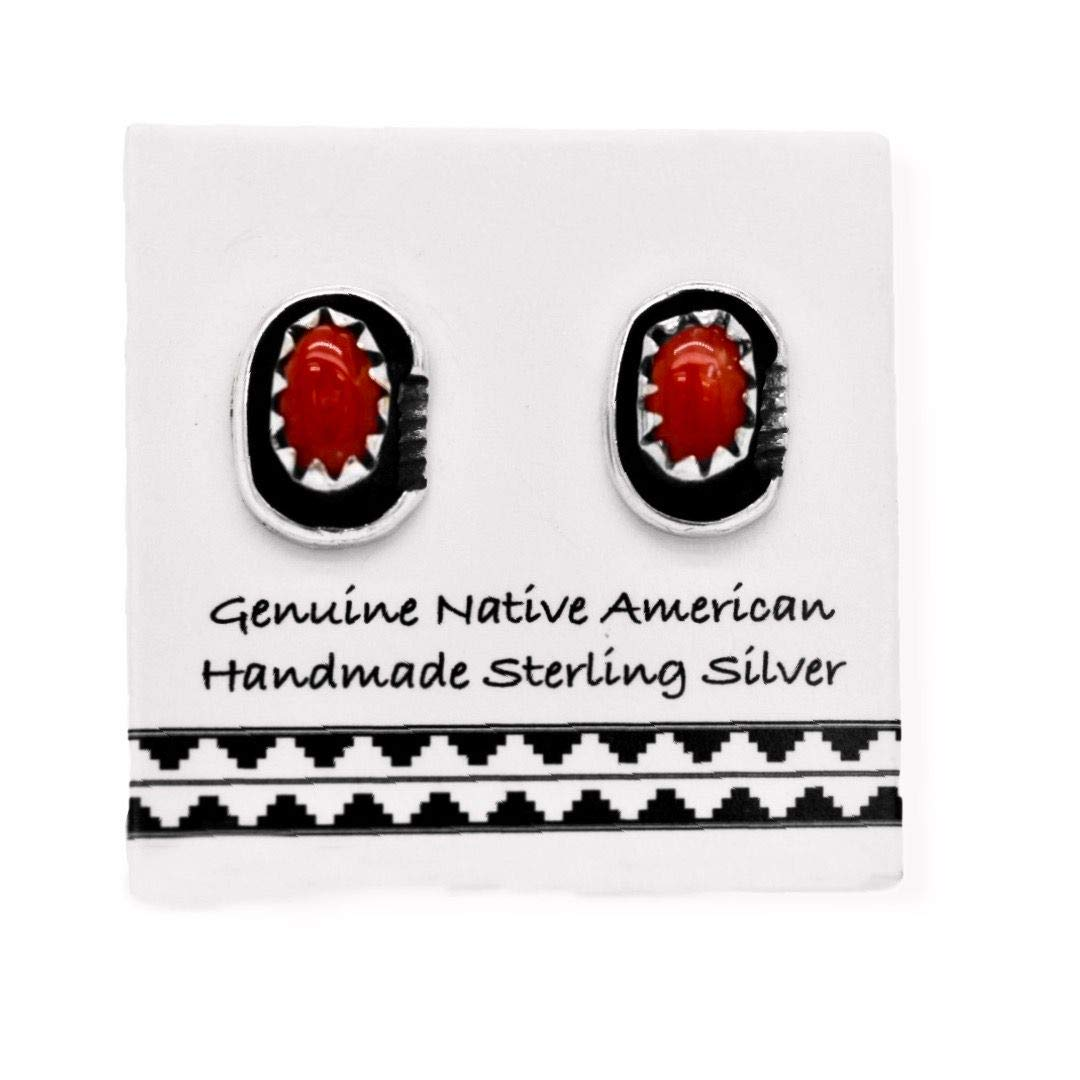 7mm Genuine Red Coral Stud Earrings in 925 Sterling Silver, Oval Style, Native American USA Handmade, Nickle Free