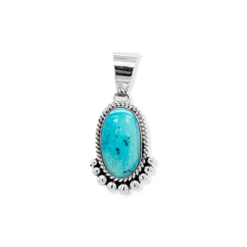 Genuine Turquoise Mountain Turquoise Pendant, Sterling Silver, Authentic Navajo Native American USA Handmade, Artist Signed, Nickel Free, Southwest Jewelry