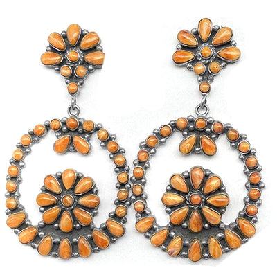 Orange Spiny Oyster Shell Statement Chandelier Style Earrings, Sterling Silver, Native American USA Handmade, Nickle Free