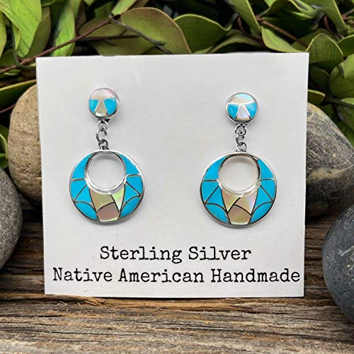Genuine Sleeping Beauty Turquoise Earrings, Sterling Silver, Native American USA Handmade, Artisan Signed, Nickle Free, Mother of Pearl