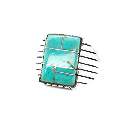 Genuine Sleeping Beauty Turquoise Inlay Ring, Size 11.5 Sterling Silver, Authentic Navajo Native American USA Handmade, Nickel Free, Southwest Jewelry for Men