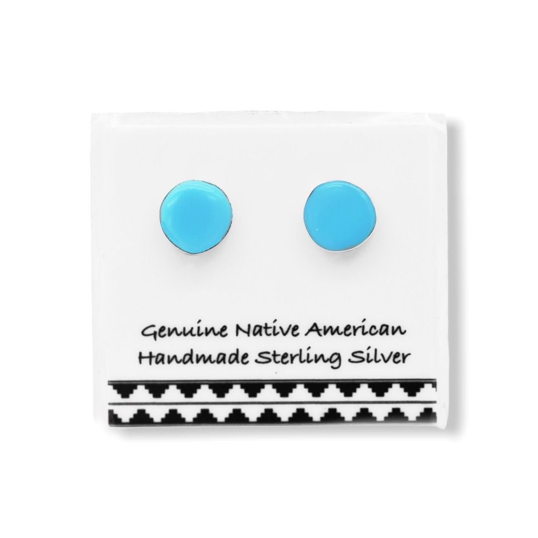 5mm Genuine Sleeping Beauty Turquoise Stud Earrings in 925 Sterling Silver, Authentic Navajo Native American, Handmade and Nickle Free