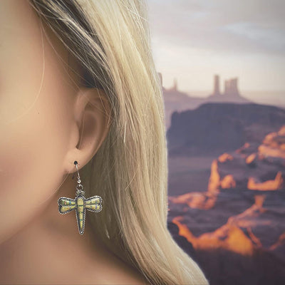 Genuine Gaspeite Dragonfly Earrings, Sterling Silver, Native American USA Handmade, Nickle Free, Southwest Vintage Style