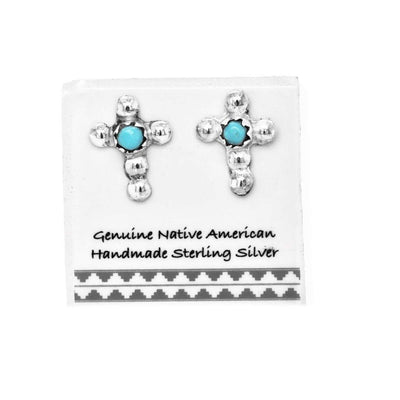 Genuine Sleeping Beauty Turquoise Cross Stud Earrings in 925 Sterling Silver, Nickle Free, Baptism, Christian Religious