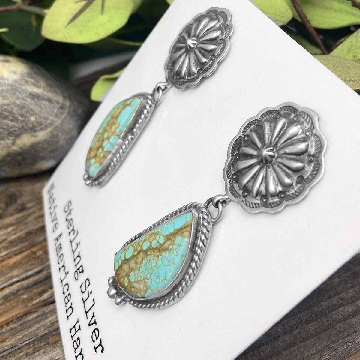 Genuine Royston Turquoise Statement Earrings in Oxidized 925 Sterling Silver, Authentic Navajo Native American Handmade and Artist Signed, Nickle Free