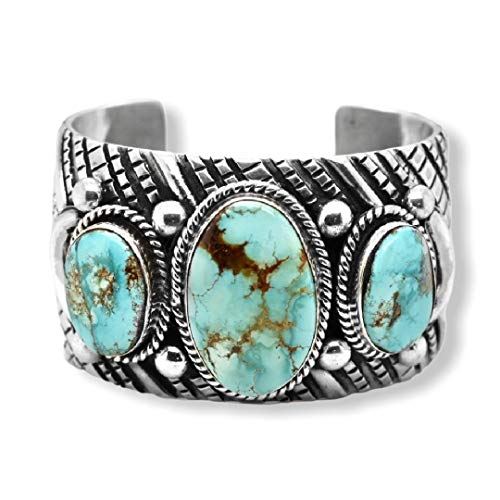 Genuine Damele Turquoise Cuff Bracelet, Sterling Silver, Authentic Navajo Native American USA Handmade, Artist Signed, One of a Kind, Size Women's Large