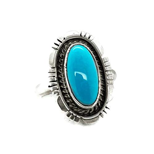 Genuine Sleeping Beauty Turquoise Ring, Size 8.5, Sterling Silver, Authentic Navajo Native American USA Handmade, Artist Signed, Nickel Free, Southwest Jewelry