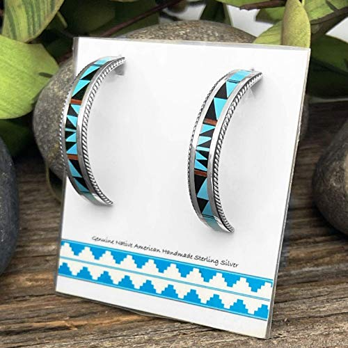 Genuine Stone Half Hoop Earrings, Zuni Native American USA Handmade, Turquoise, Onyx, Coral, Sterling Silver, Multicolor