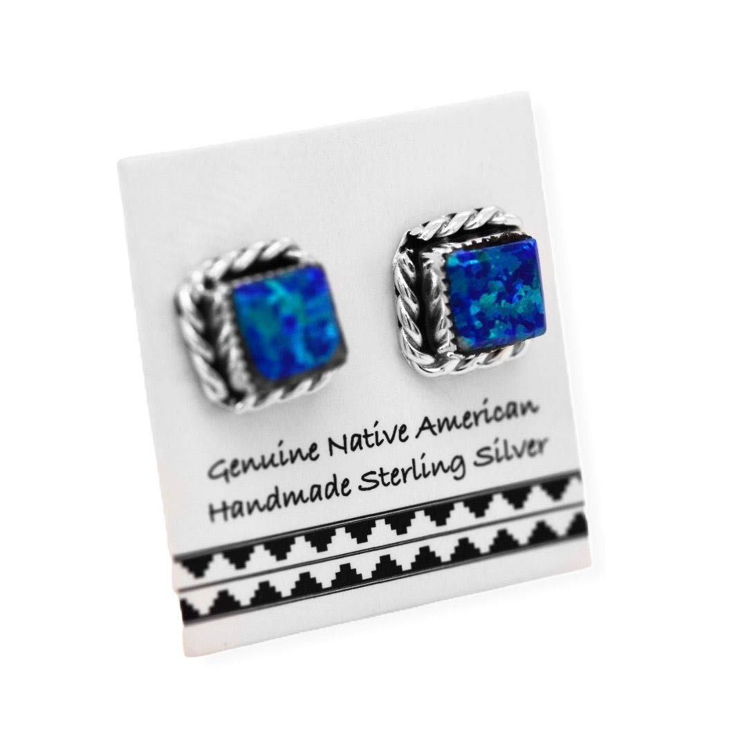 Dark Blue Desert Opal Stud Earrings in 925 Sterling Silver, Native American USA Handmade, Nickle Free, Synthetic Opal, Square