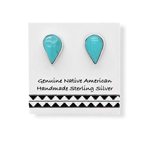 7mm Genuine Green Turquoise Stud Earrings, 925 Sterling Silver, Native American USA Handmade, Teardrop, Nickle Free