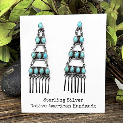 Genuine Sleeping Beauty Turquoise Chandelier Earrings, Oxidized Sterling Silver, Authentic Navajo Native American USA Handmade, Artist Signed, Nickle Free, Southwest Vintage Style