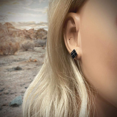 Genuine Onyx Stud Earrings, 925 Sterling Silver, Native American USA Handmade, Southwest Jewelry with Natural Black Stone