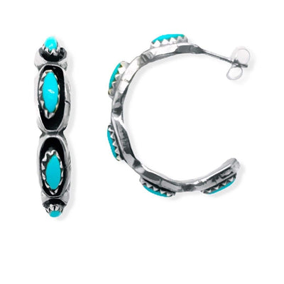 Genuine Sleeping Beauty Turquoise Half Hoop Earrings, 925 Sterling Silver, Native American USA Handmade, Genuine Stone, Nickle Free