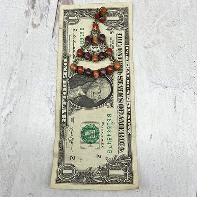 Spiny Oyster Shell Statement Chandelier Earrings, Sterling Silver, Native American USA Handmade, Nickle Free, Orange, Purple, Red