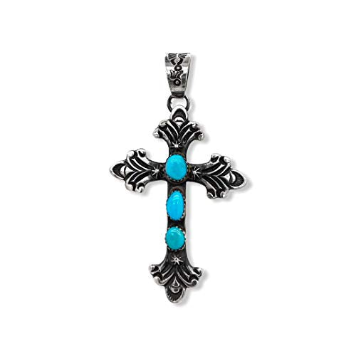 Genuine Sleeping Beauty Turquoise Cross Pendant, Oxidized Sterling Silver, Authentic Navajo Native American USA Handmade, Artist Signed, Nickel Free, Southwest Jewelry