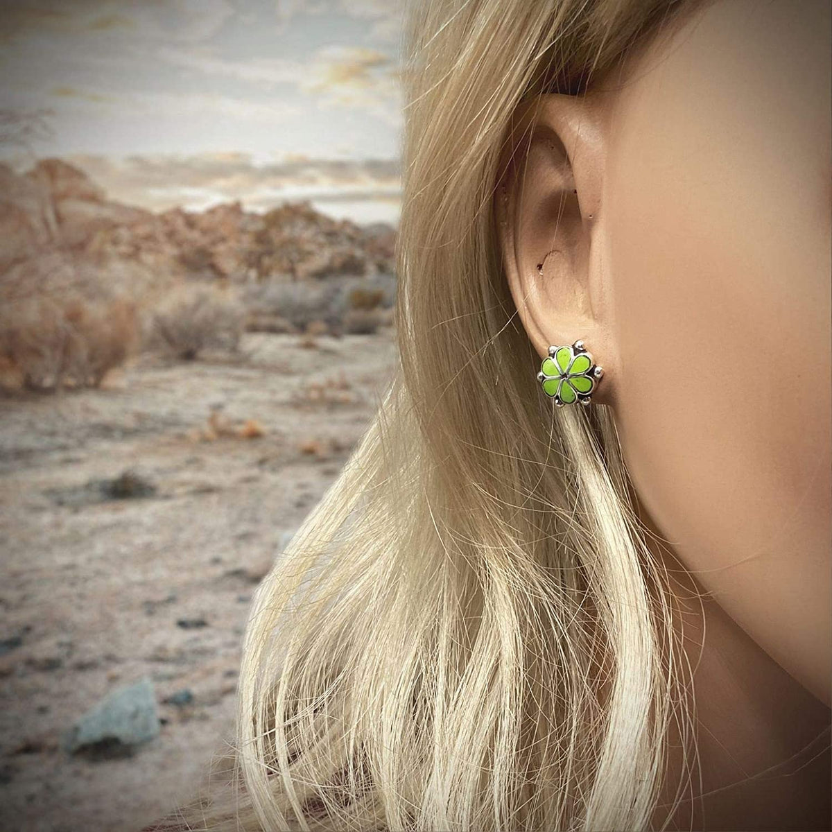Bright Green Gaspeite Stud Earrings, 925 Sterling Silver, Native American USA Handmade, Nickel Free, Natural Stone